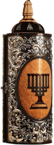 click for close up images, sterling on wood Torah case